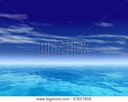 High resolution concept or conceptual sea or ocean water waves and sky cloudscape exotic or paradise background
