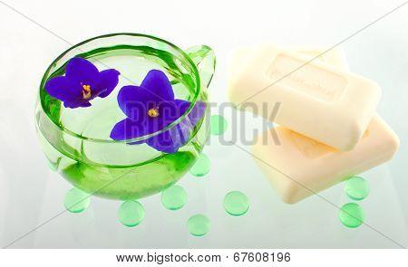 Creamy Soap Bars In A Spa Composition