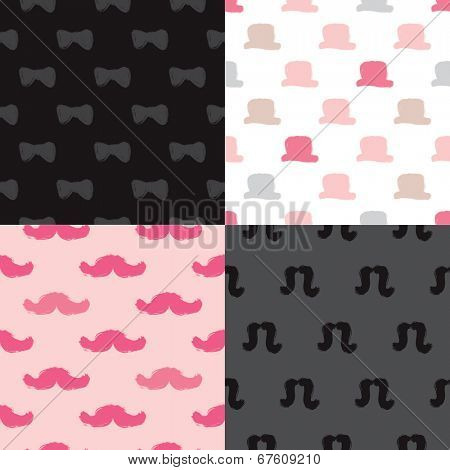 Seamless hipster illustration set with mustache hat and bow raw brush texture background pattern in vector
