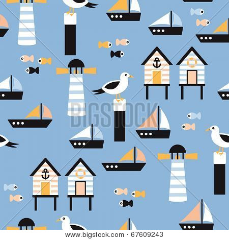 Seamless seagull and lighthouse nautical marine illustration background pattern in vector