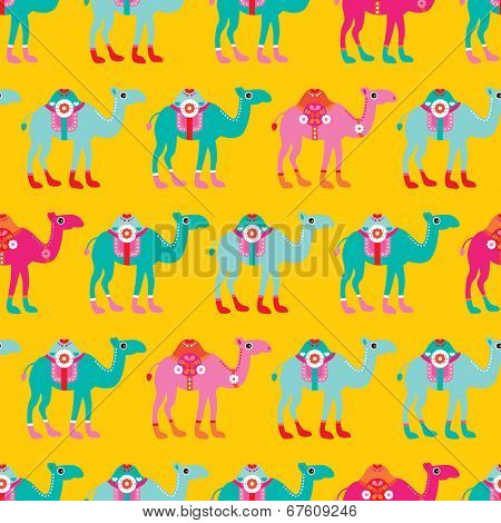 Seamless kids camel parade illustration arabic theme colorful background pattern in vector
