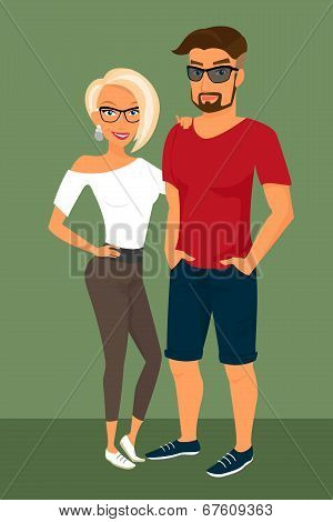 Hipster guy and his blond pretty girlfriend wearing glasses