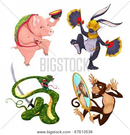 Pig, rabbit, snake and monkey. Four isolated vector animals in different activities.
