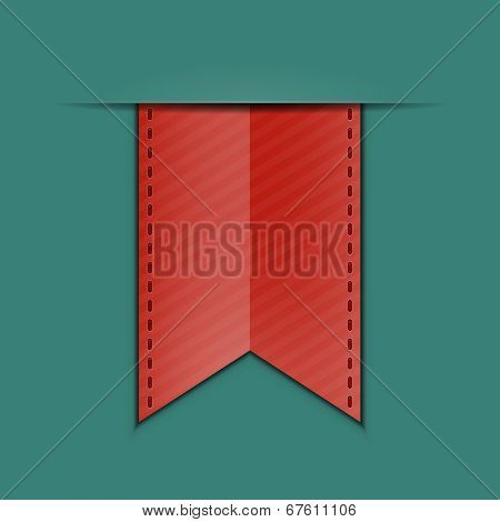 Red bookmark decoration ribbon on green background. Stitched silky ribbon. Vector illustration