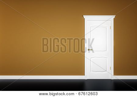 Closed White Door On Brown Wall