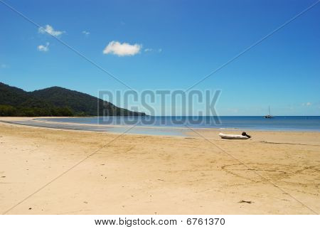 Boat On Beach At Low Tide