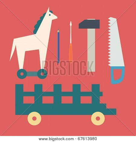 Basic Cmykvintage Wooden Horse And Toy Tools