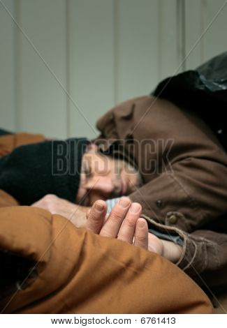 Closeup Of Homeless Man Sleeping