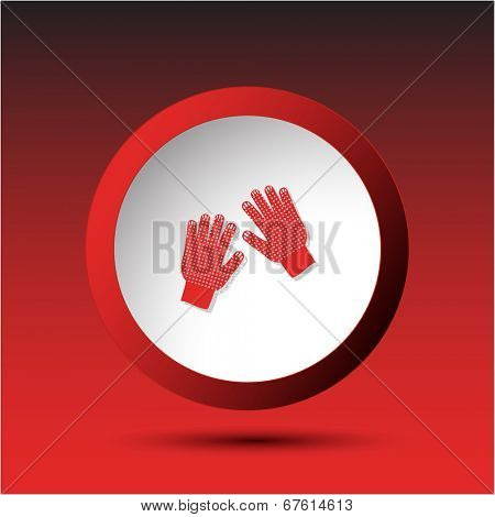 Gauntlets. Plastic button. Raster illustration.