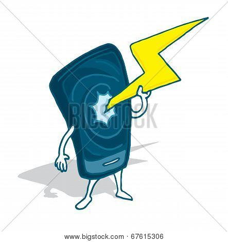 Cell Phone Charging Big Bolt Of Electricity