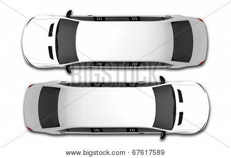 White Limousine Top View