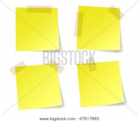 Yellow stick note papers