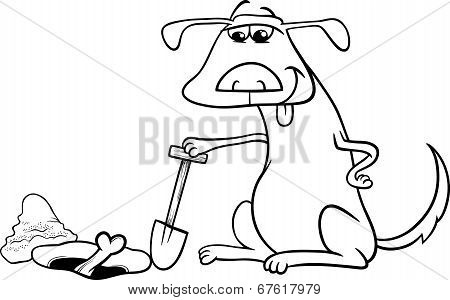 Dog With Bone Cartoon Coloring Page