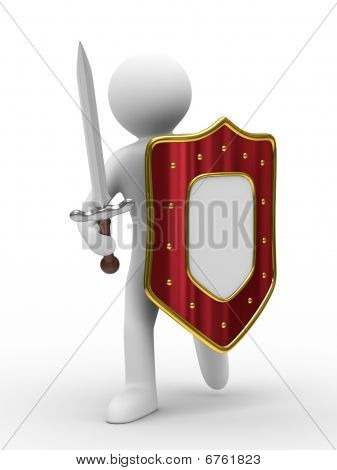 Knight With Sword On White Background. Isolated 3D Image