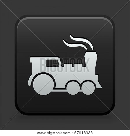 Locomotive Icon on Black and White Button