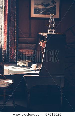 Vintage Desk In Dark Room