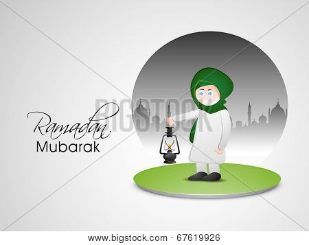 Religious muslim mam holding arabic lantern on beautiful green stage for celebrations of holy month of Muslim community Ramadan Mubarak.