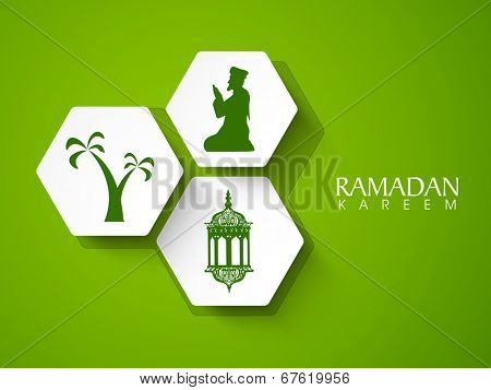 Beautiful sticky design silhouette of religious muslim man praying, intricate arabic lantern with palm trees on shiny green background.