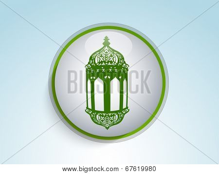 Glossy icon with intricate lantern for the celebrations of Muslim community holy month of Ramadan Mubarak.