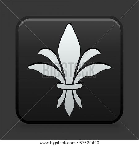 Fleur De Lis Icon on Black and White Button