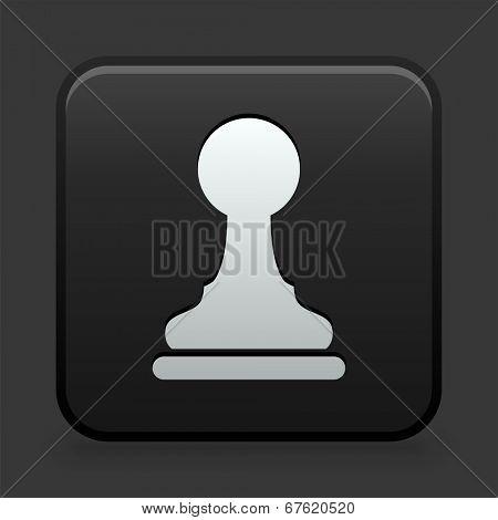 Pawn Icon on Black and White Button