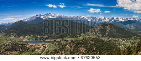 Panoramic view of Rocky mountains from Prospect Mountain, Estes Park, Colorado, USA