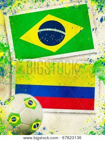 Brazil vs Colombia soccer ball concept