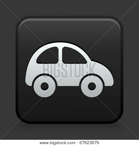 Car Icon on Black and White Button