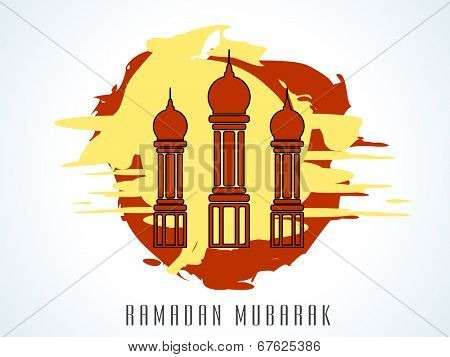 Beautiful maroon mosque on grungy red and yellow background for the holy month of Muslim community Ramadan Mubarak celebrations.
