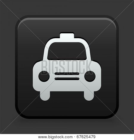 Taxicab Icon on Black and White Button