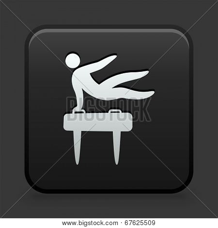 Pommel Horse Icon on Black and White Button