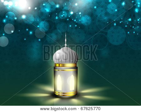 Illuminate lantern on shiny abstract background for holy month of Muslim community Ramadan Kareem.