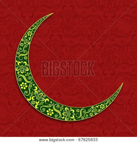 Floral decorated green crescent moon on seamless floral decorated maroon background for holy month of Muslim community Ramadan Kareem.