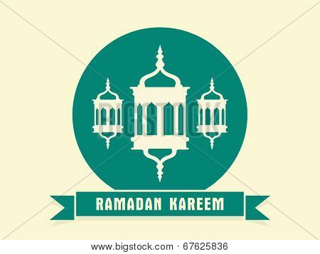 Beautiful green sticky design with hanging intricate lanterns on beige background for holy month of muslim community Ramadan Kareem.