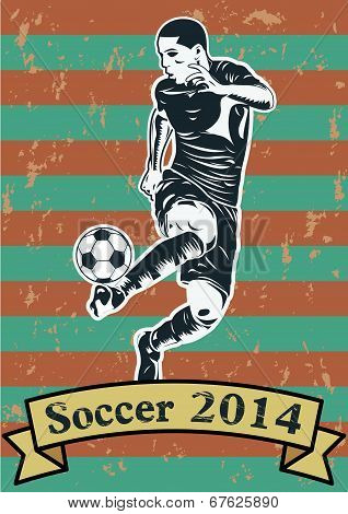 Soccer players silhouette or sports shadow poster