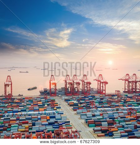 Modern Container Terminal At Dusk