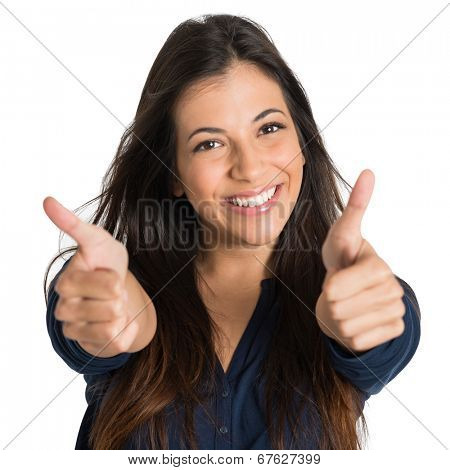 Close Up Of Young Happy Woman Showing Thumb Up Sign Isolated On White Background