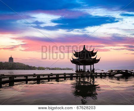 Hangzhou Scenery In Sunset
