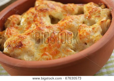Cauliflower cheese in a pot