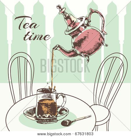 Teapot and cup tea time poster