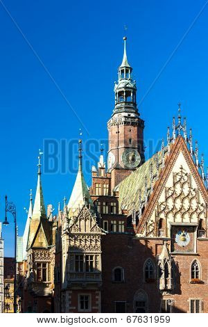 Town Hall on Main Market Square, Wroclaw, Silesia, Poland