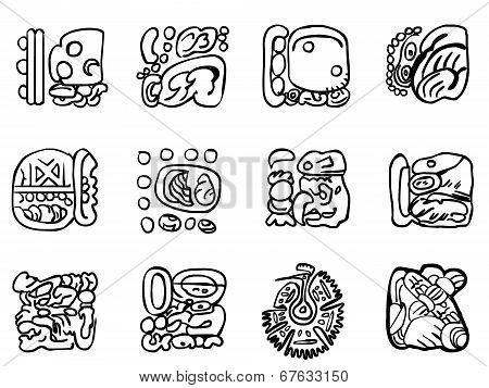 Maya Patterns. Outline Drawings.