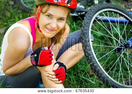 Young Woman Fell Off Mountain Bike.