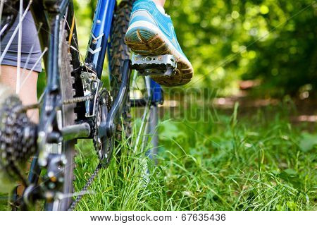 Closeup Of Woman Riding Mountain Bike Outdoors.