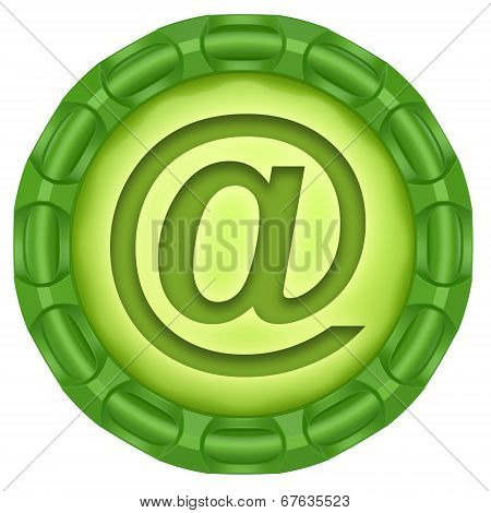 E-mail. Abstract Green Label Isolated On White Background.