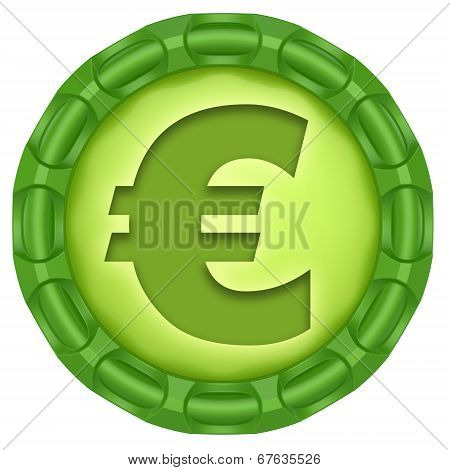 Euro. Abstract Green Label Isolated On White Background.