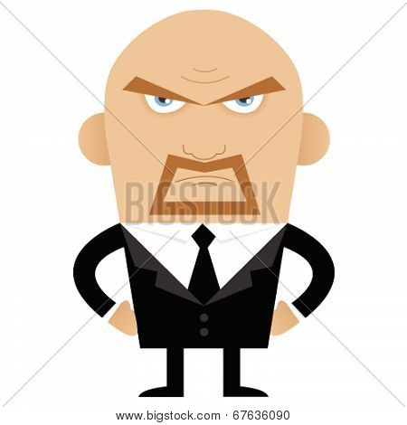 Angry Bald Man In Full Suit