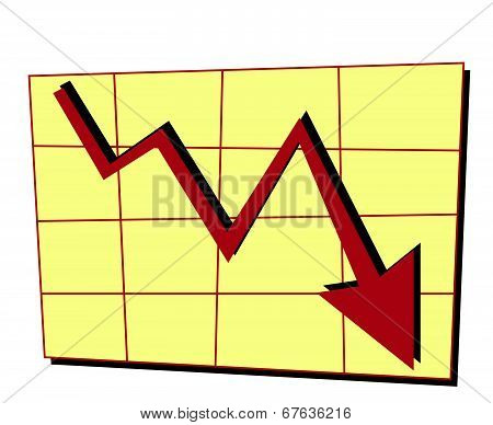 Red Arrow Going Down In Line Graph