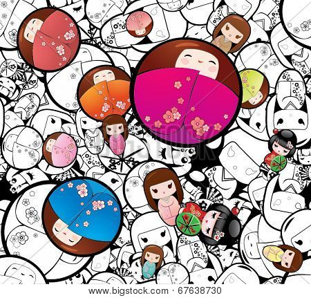 Vector Seamless Japanese Kokeshi Dolls Background