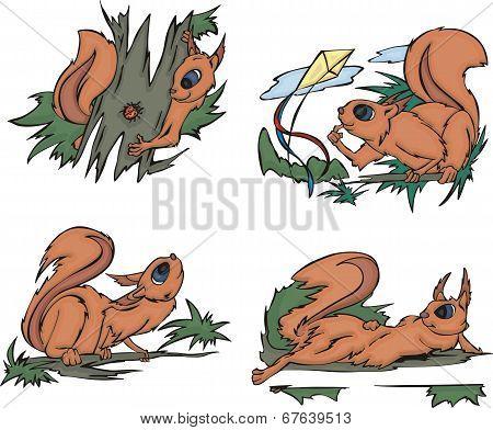 Playful Comic Squirrels